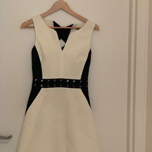 NWT Karen Millen White & Black Eyelet Mini Dress